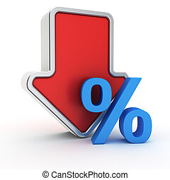 Fall of percent rate - Big red arrow with small blue percent...