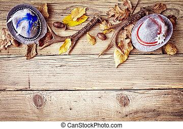 Fall or autumn Bavarian border on wood