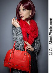Fall or Spring Fashion Style with Red Purse - Woman dressed...