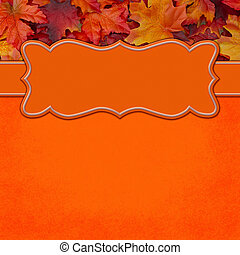 Fall orange leaf border with copy space