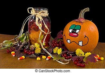 fall pumpkin with candy corn