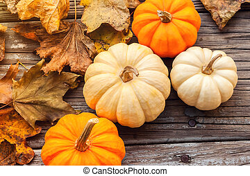 Fall pumpkins with leaves on wooden boards