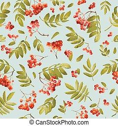 Fall Rowanberry Seamless Background. Floral Autumn Pattern...
