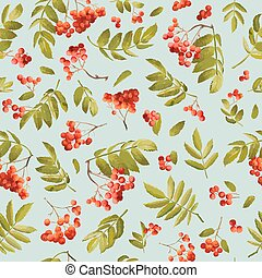 Fall Rowanberry Seamless Background. Floral Autumn Pattern...