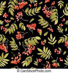 Fall Rowanberry Seasonal Seamless Background. Floral Autumn...
