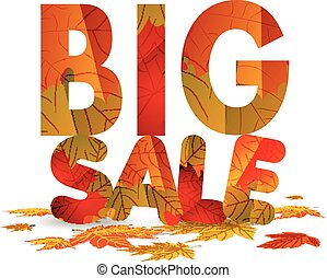 Fall sale design. Autumn discount for advertising, banners or posters. Big sale isolated on white background