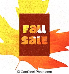 Fall sale poster with colorful watercolor leaves. Vector illustration