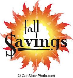 Fall Savings text in an autumn leaf