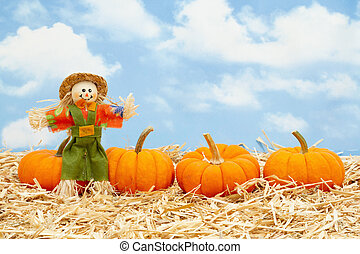 Fall scene with scarecrow and orange pumpkins on straw hay with sky background