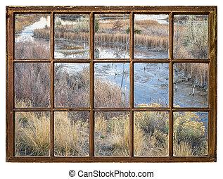 fall scenery of wetlands -window view - fall scenery in...