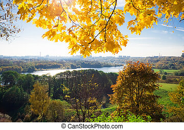 fall scenery - View from the hill in Kolomenskoye park,...