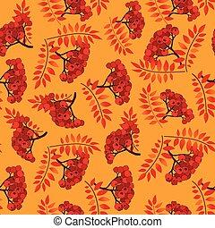Fall seamless pattern. Autumn leaves background, rowan berry branch