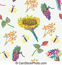 Fall seamless pattern with flower and fruits hand drawn