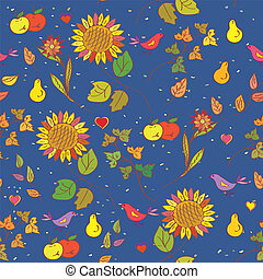 Fall seamless pattern with fruits and sunflowers