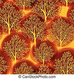 Fall season background. Autumn tree seamless pattern. Vector illustration