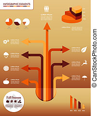 Fall season infographic elements Autumn graphics template.