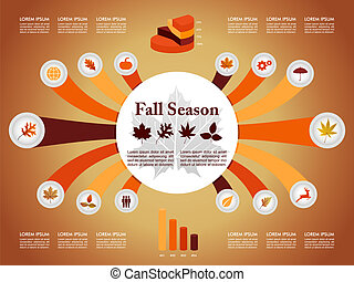 Fall season infographic illustration template. Autumn concept with information graphics elements about weather and seasons related issues. EPS10 Vector file in layers for easy editing.