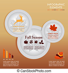 Fall season infographics illustration template. Autumn Concept plates with information graphics elements about weather and seasonal related issues. EPS10 Vector file in layers for easy editing.