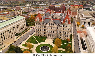 Fall Season New York Statehouse Capitol Building in Albany -...