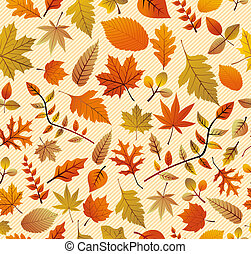 Fall season variety of tree leaves seamless pattern background. EPS vector file in layers for easy editing.