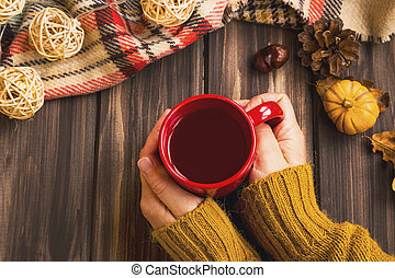 Fall setting woman hands holding hot tea cup with vintage fall blanket on wooden background and pumpkin deco, cosy autumn flatlay setting