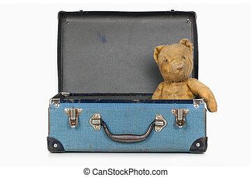 fall, skola, gammal, teddy, årgång, björn