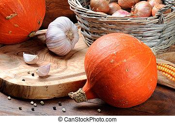 Fall still-life with pumpkins