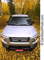 Fall SUV - SUV amongst Fall foliage. Leaves on ground.