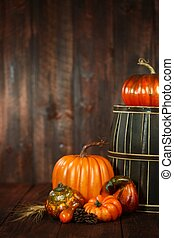 Fall Themed Scene With Pumpkins on Wood - Rustic Fall Themed...