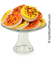 Fall Themed Sugar Cookies Stacked on Platter