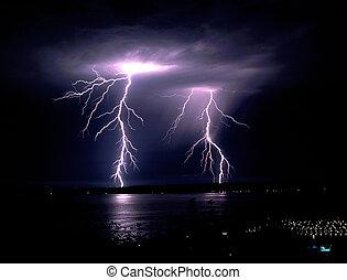 Fall Thunderstorm Late Night Lightning Strike Puget Sound...