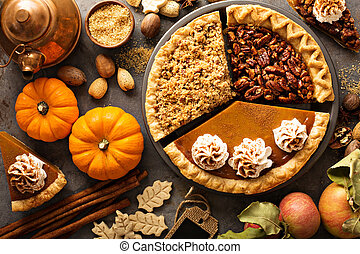 Fall traditional pies pumpkin, pecan and apple crumble pie ...