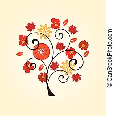fall tree - vector tree with fall elements