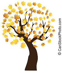 Fall Tree - vector tree with fall leaves