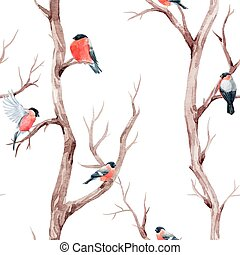 Fall trees and birds vector pattern