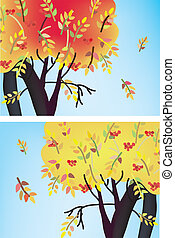 Fall trees banners with leaves and berries