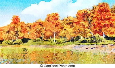 Fall trees reflected in water watercolor landscape -...