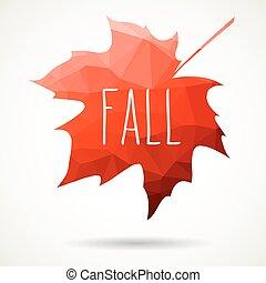 Fall triangular maple leaf - Maple leaf in triangular style...