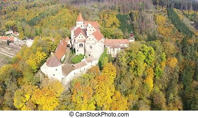 Scenic aerial view of historical medieval Pernstejn castle, Czech Republic