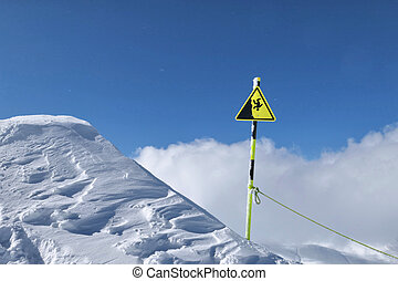 Fall warning sign from the mountain in winter.