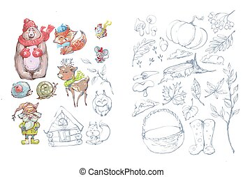 Fall winter cute animal characters and autumn harvest vector illustration, coloring book page drawing