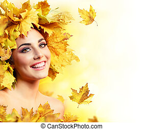 Fall Woman Smiling With Yellow Hair