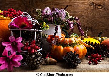 falla, ordning, med, turban mosa, rosa, och, purpurfärgade blommor