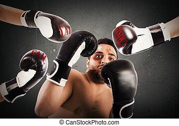 fallado, boxeador, hombre de negocios