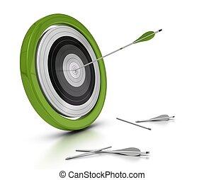fallado, objetivo, plano de fondo, blanco, concepto, uno, otro, flechas, dos, ellos, achived, centro, flecha, objetivo, golpear, blanco