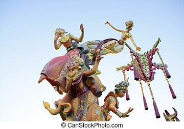 Fallas from Valencia, Spain celebration cartoon figures