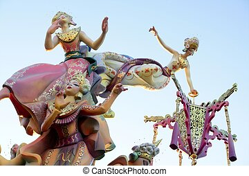 Fallas from Valencia, Spain celebration cartoon figures -...