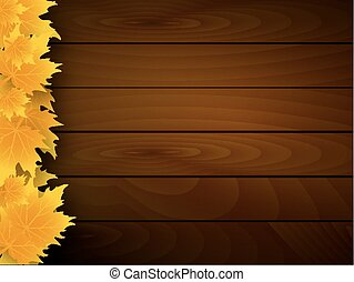 Fallen autumn leaves on the wooden