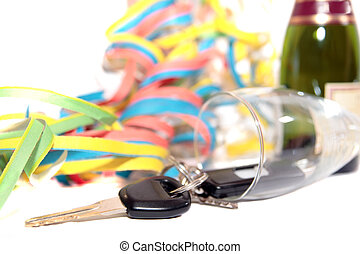 fallen champagne flute and car keys - champagne with keys...