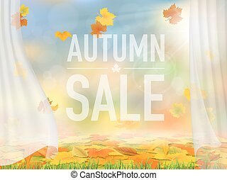 Fallen leaves and curtains autumn background